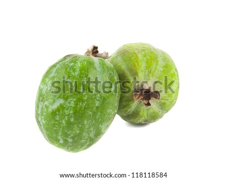 Feijoas fruits isolated on white background