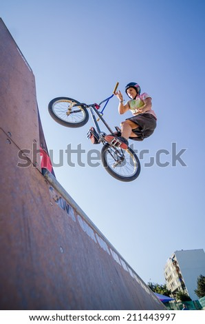 FELGUEIRAS, PORTUGAL - AUGUST 17, 2014: Joao Pires during the 1st Stage of the DVS BMX Series 2014 by Fuel TV.