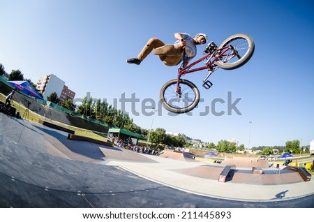 FELGUEIRAS, PORTUGAL - AUGUST 17, 2014: Miguel Pires during the 1st Stage of the DVS BMX Series 2014 by Fuel TV.