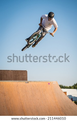 FELGUEIRAS, PORTUGAL - AUGUST 17, 2014: Nuno Faria during the 1st Stage of the DVS BMX Series 2014 by Fuel TV. - stock photo