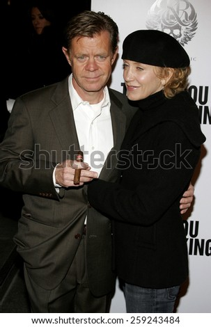 "Felicity Huffman and William H. Macy attend the Los Angeles Premiere of ""Thank You For Smoking"" held at the Directors Guild Of America in Hollywood, California on March 16, 2006."