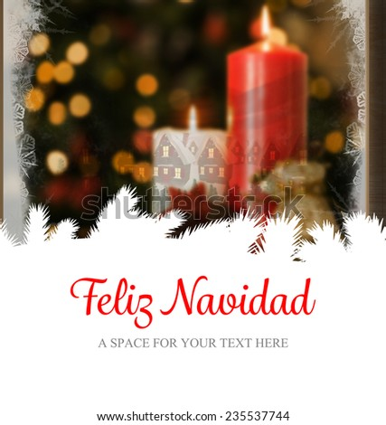Feliz navidad against christmas home seen through frosty window - stock photo