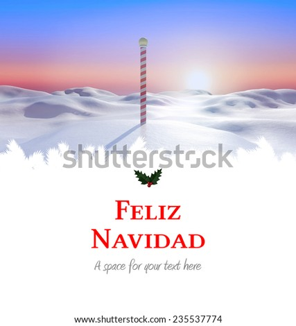 Feliz navidad against snowy land scape with pole - stock photo