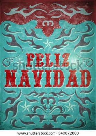 Feliz Navidad Merry Christmas Spanish Text Stock Illustration ...