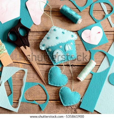 House Hearts Decoration Made Felt Tools Stock Photo