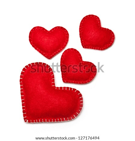 Felt red hearts isolated on a white background - stock photo