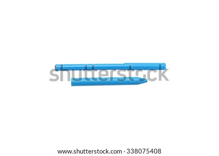 Felt-tip pen and pencil blue. Isolated on white.                                - stock photo