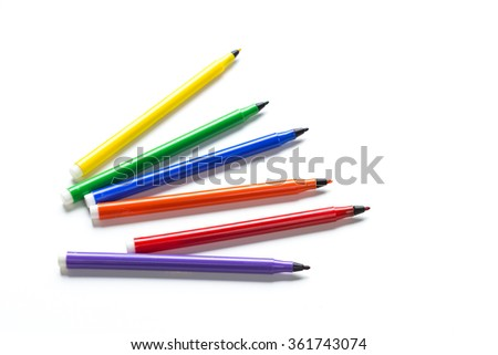 Felt-tip pens isolated - stock photo