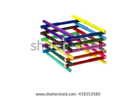 Felt-tip pens isolated on white background - stock photo