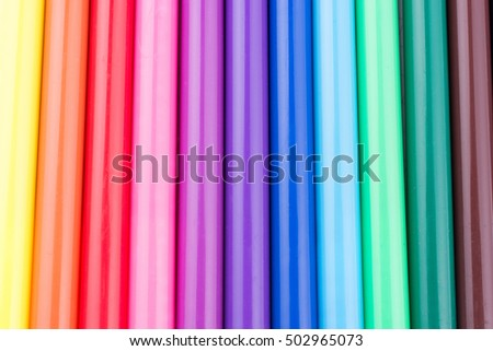 Felt-tip pens of various color in line