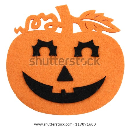 Felted orange and black halloween decoration on white