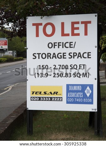 Feltham, London, Central Way, Middlesex, England - August 12, 2015: Commercial office and storage space to let advertising sign