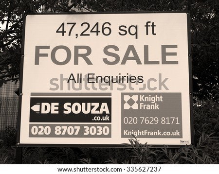 Feltham, London, Central Way, Middlesex, England - August 19, 2015: Commercial office and warehouse space for sale advertising sign