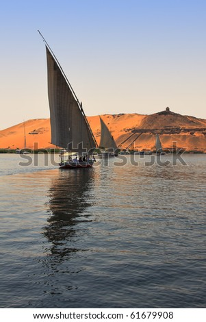 Felucca boats sailing in Nile River, Egypt (HDR Photo) - stock photo