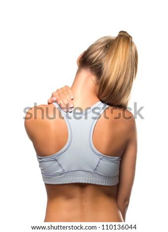 femal having neckache - stock photo