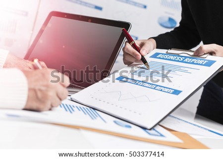 Female accountant working at workplace for discussing project company office financial management.
