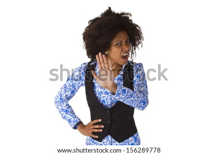 Female Afro american say NO - isolated on white background - stock photo