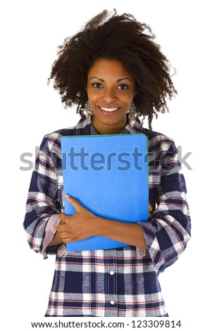 Female afro american with a job application - isolated on white background - stock photo