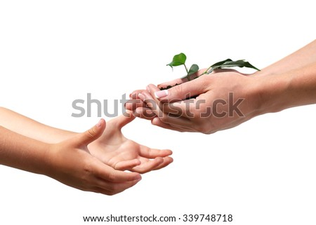 Female and child handfuls with soil and small green plant on light background - stock photo