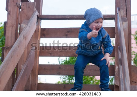 female and little boy - stock photo