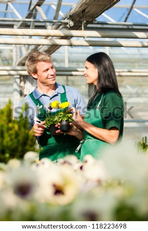 Female and male gardener in market garden or nursery - stock photo