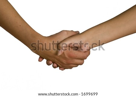 female and male holding hands