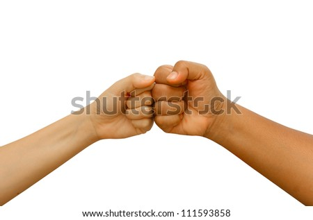 Female and male  people giving a fist bump,Fist bump hand sign coherence isolated in white background - stock photo