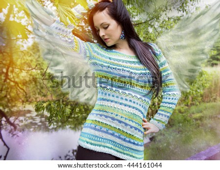 Female angel in a state of meditation - stock photo