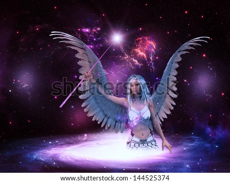 Female angel with purple stick in the space background. - stock photo