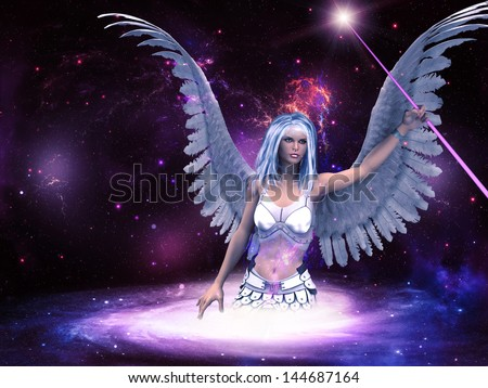 Female angel with purple stick in the space background.