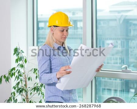Female Architect At Work. - stock photo