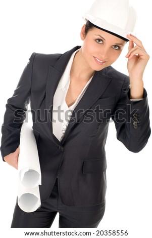 Female architect holding blueprints - stock photo