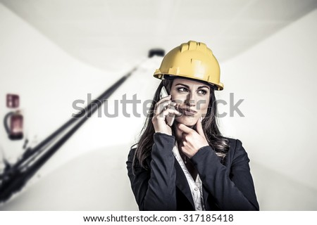 female architect making a call
