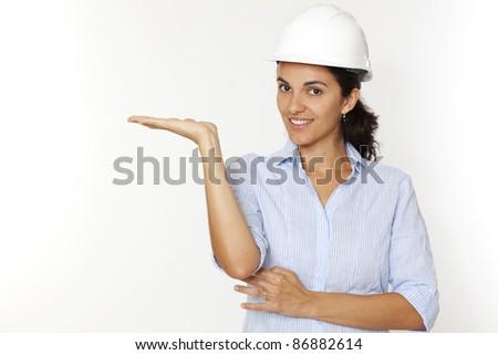 Female architect showing - stock photo