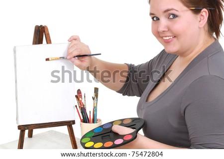 Female artist - stock photo