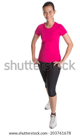 Female Asian athlete in sports attire over white background