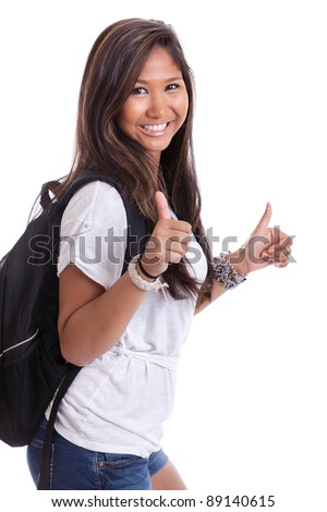 Female Asian college student with thumbs up - stock photo