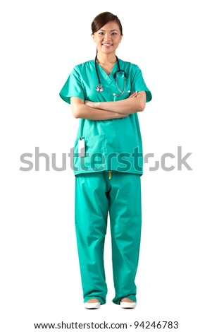 Female Asian doctor wearing a green Scrubs and stethoscope. Isolated on white. Full length Portrait. - stock photo