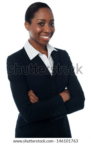 Female assistant posing confidently