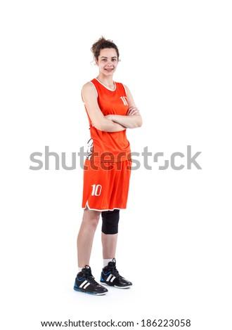 Female basketball player. Studio shot over white.  - stock photo