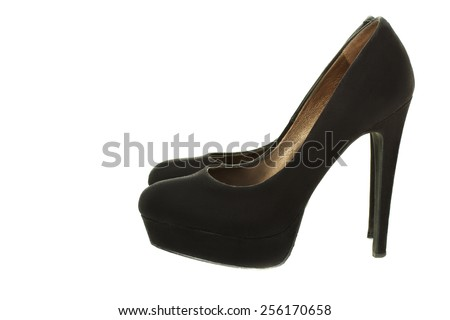 female black suede shoes isolated - stock photo