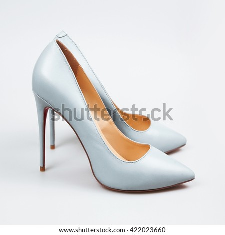 Female blue high-heeled shoes