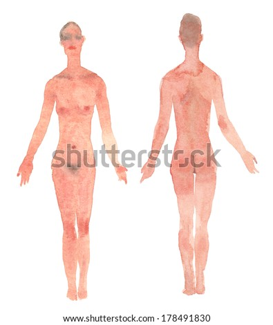Female body front and back view watercolor illustration - stock photo