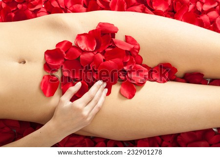 female body with red rose petals - stock photo