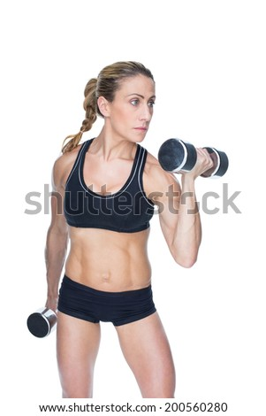 Female bodybuilder working out with large dumbbells on white background