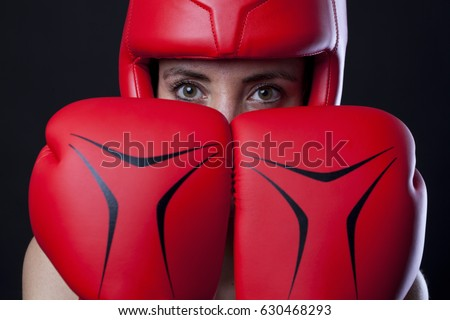 Female boxer, super woman concept