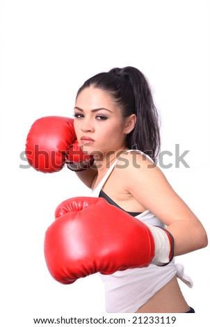 female boxer with red gloves isolated over white background