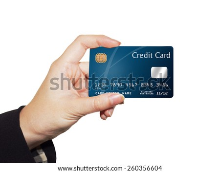 female business hand  holding credit card isolated on white  - stock photo