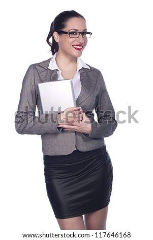 Female Business Professional Using Digital Tablet - Isolated - stock photo