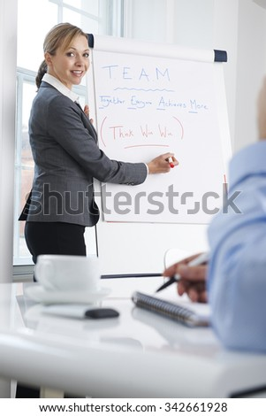 Female Businesswoman Giving Presentation With Flipchart - stock photo